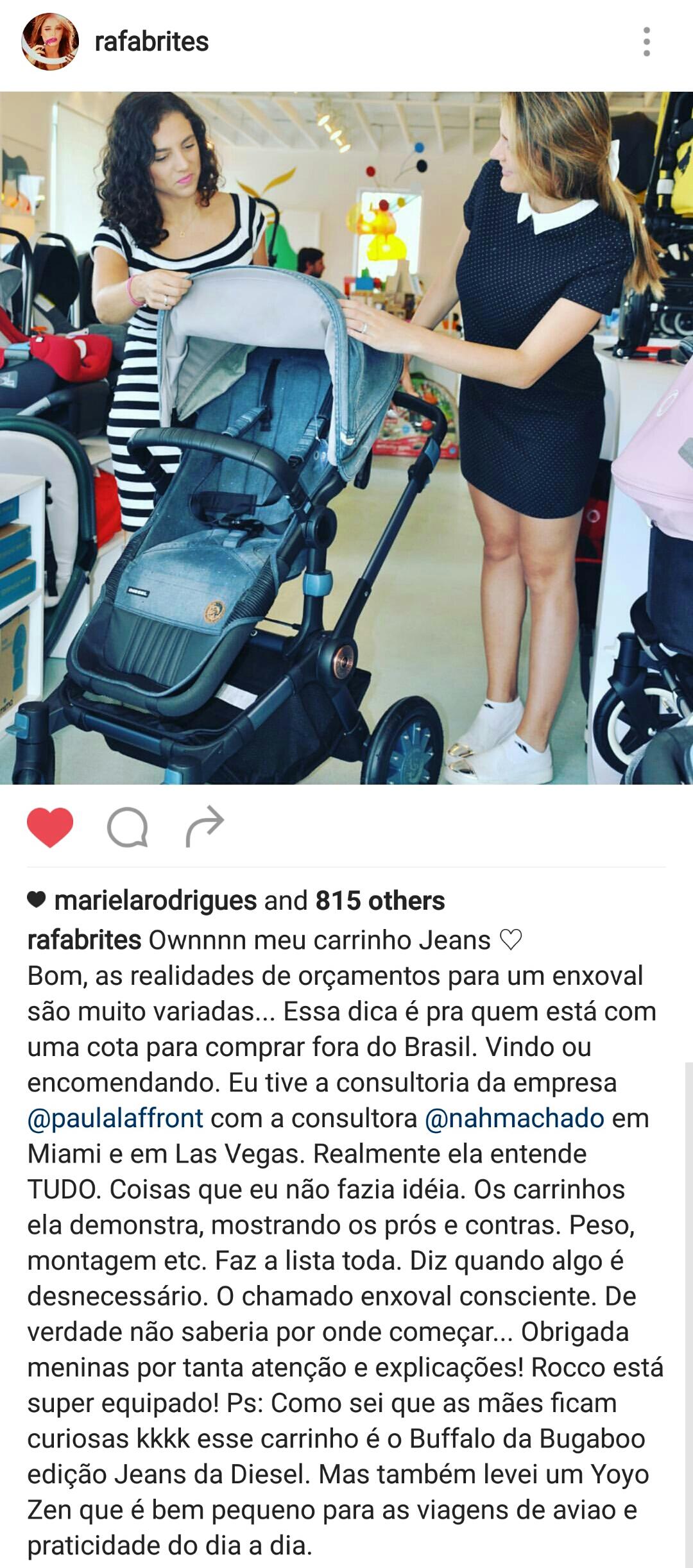 Depoimento que a apresentadora Rafa Brites deixou em sua conta pessoal de instagram